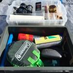 キャンプ道具の収納箱は工具箱を使用しています。